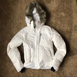 White down jacket with fur hood!